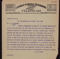 Telegram to Dr. Macleod 17/04/1923