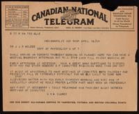 Telegram to Dr. Macleod 18/04/1923