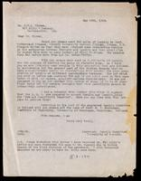 Letter to Dr. Clowes 18/05/1923