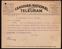 Telegram to Dr. J. J. R. Macleod 20/05/1923