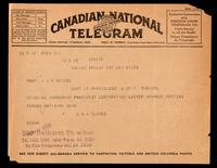 Telegram to Dr. Macleod 27/05/1923