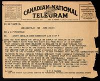 Telegram to J. G. Fitzgerald 20/06/1923