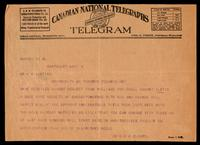Telegram to Dr. F. G. Banting 9/08/1922
