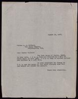 Letter to Dr Walters 19/08/1922