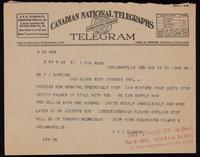 Telegram to Dr. F. G. Banting 19/08/1922