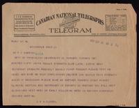 Telegram to Dr. F. G. Banting 16/09/1922