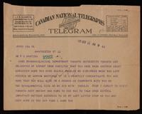 Telegram to Dr. Banting 11/10/1923