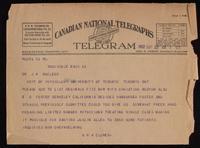 Telegram to Dr. Macleod 22/09/1922