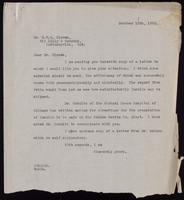 Letter to Dr. Clowes regarding sending insulin to China 10/10/1922