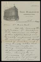 Letter to Dr. Macleod regarding the application for a United States patent for insulin 11/1922