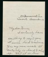 Letter to Bruce Macleod 22/12/1921