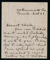 Letter to Charles Best 26/10/23