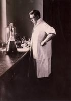 Photograph of J. B. Collip in a laboratory ca. 1927