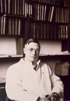Photograph of J. B. Collip in his office at McGill University ca. 1930