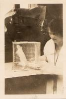Photograph of Sadie Gairns with a rat