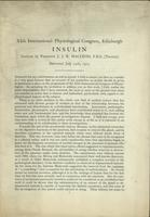 Insulin: Lecture by Professor J. J. R. Macleod, F.R.S. (Toronto) delivered July 24th, 1923