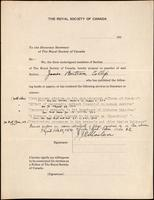 Royal Society of Canada nomination form for James Bertram Collip [ca. 12/1923]
